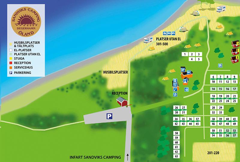 Karta över Sandviks camping